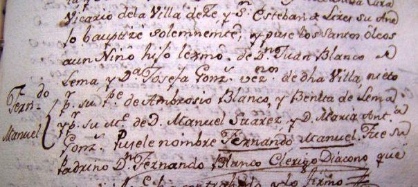 Partida nacemento D. Fernando Blanco de Lema
