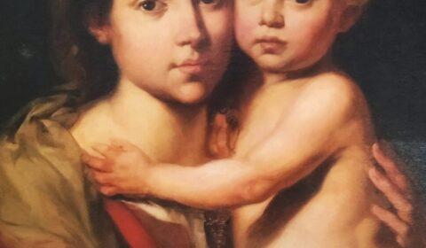 """""""Xamais na vida atoparedes tenrura mellor e máis desinteresada ca de vosa nai"""" (Honoré de Balzac).  Detalle do óleo """"Virxe do Rosario co Neno"""" de Francisco Díaz Carreño (ca 1890)."""