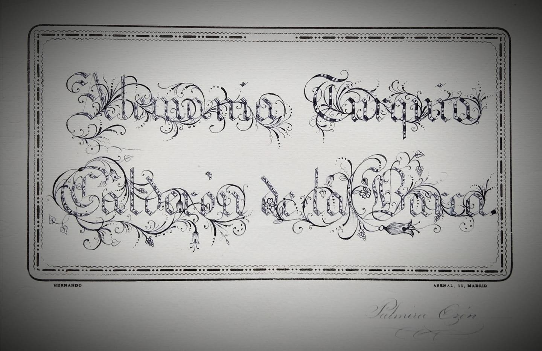 """""""Borra muchas veces si quieres escribir cosas dignas de ser leídas"""" (Horacio).  Lámina de caligrafía de Palmira Ozón Martí, alumna del Instituto Fernando Blanco en la década de los años veinte del pasado siglo."""