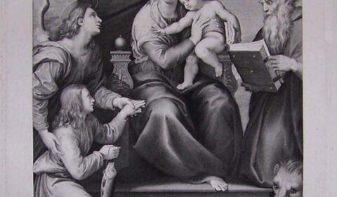 """""""El arte es magia liberada de la mentira de ser verdad"""" (Theodor Adorno). Grabado """"La Virgen del pez"""" de Fernando Selma, cuya matriz es de 1782."""