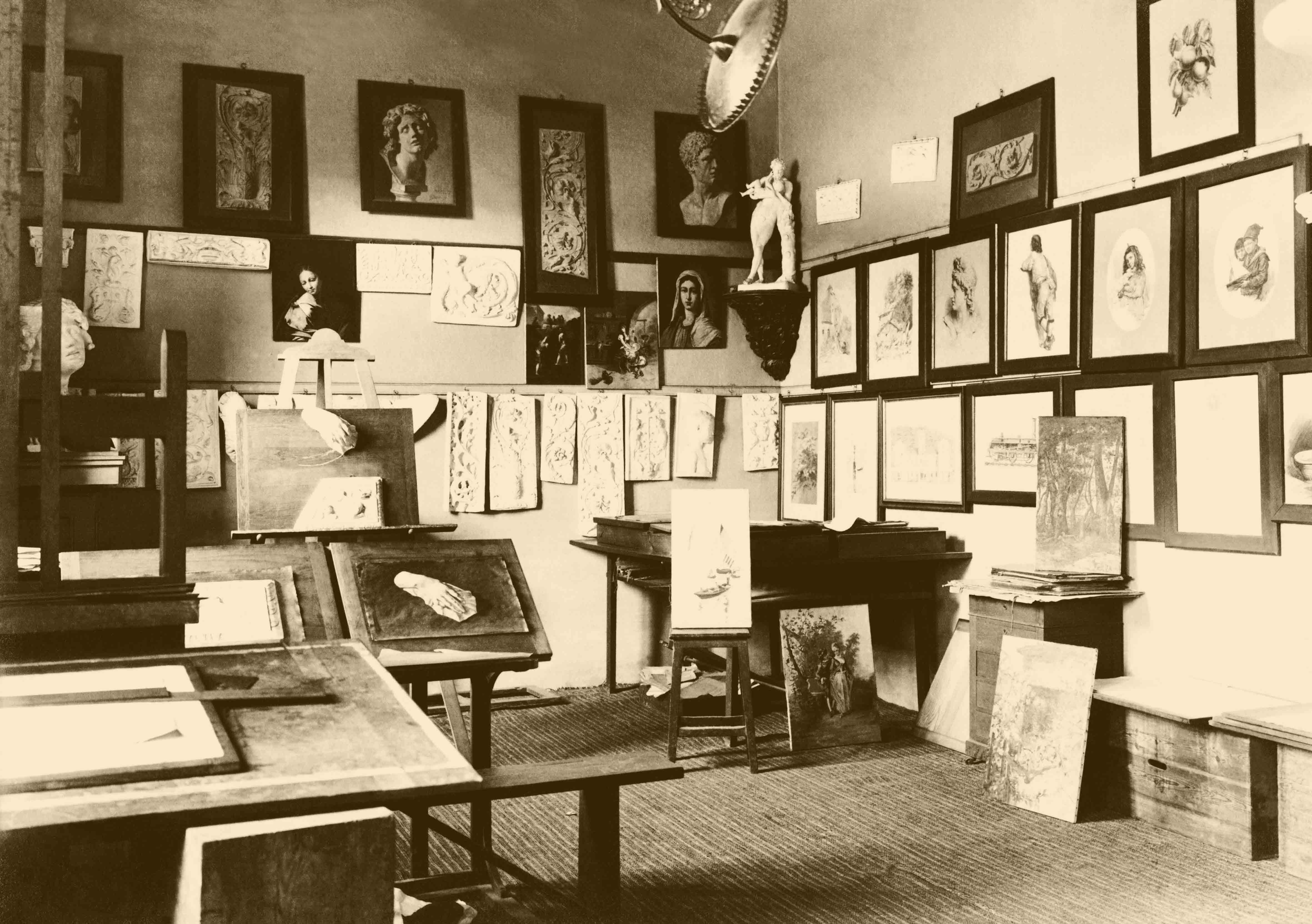 Aula de debuxo e pintura. 1917 / Aula de dibujo y pintura. 1917